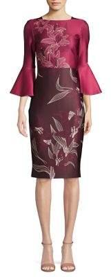 Gabby Skye Floral Bell-Sleeve Sheath Dress