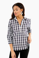 The Shirt by Rochelle Behrens Black Plaid Swing Popover