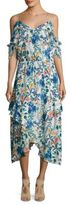 Parker Kam Cold Shoulder Floral Silk Dress