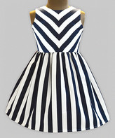 A.T.U.N. Girls' Casual Dresses Navy - Navy & White Stripe Shanaya Sleeveless A-Line Dress - Infant, Toddler & Girls