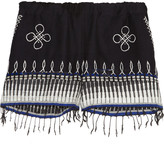 Lemlem Wubit fringed embroidered cotton-blend shorts