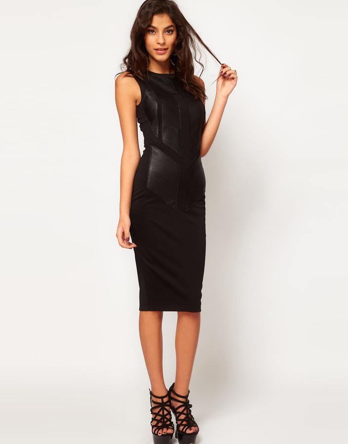 Asos Midi Bodycon Dress With Leather Panels