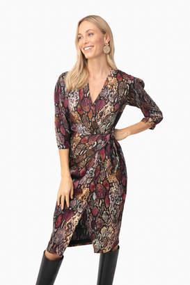 Rebecca Taylor Multi Combo Long Sleeve Snake Wrap Dress