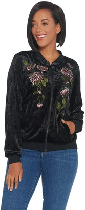 Belle By Kim Gravel Belle by Kim Gravel Embroidered Panne Velvet Bomber Jacket