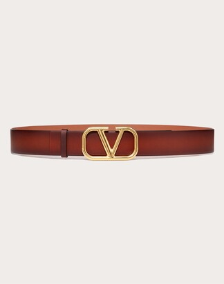 Valentino Garavani Uomo Vlogo Signature Buffered Leather Belt Man Brown Cowhide 100% 110