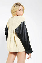 Urban Outfitters Rag Union X Urban Renewal Leather-Sleeve Fisherman Cardigan