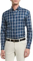 Brioni Plaid Long-Sleeve Sport Shirt, Teal