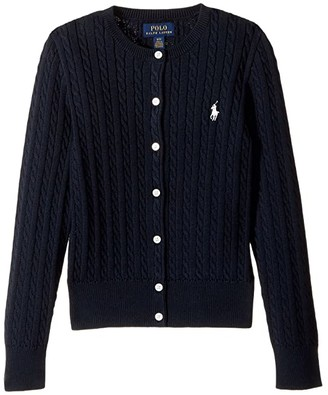 Polo Ralph Lauren Kids Cable Knit Cotton Cardigan (Little Kids/Big Kids) (Hint of Pink/Nevis Pony Player) Girl's Sweater