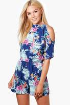 boohoo Mia Cold Shoulder High Neck Playsuit