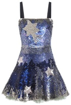Valentino Crystal-embellished Sequinned Silk Mini Dress