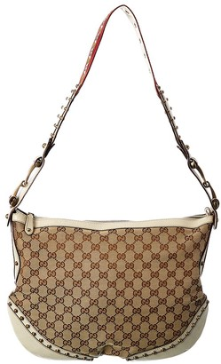 Gucci Brown Gg Canvas & Leather Pelham Stud Hobo Bag