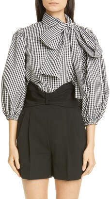 RED Valentino Tie Neck Puff Sleeve Gingham Blouse