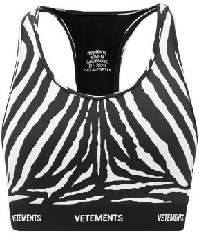 Vetements Racerback Zebra-print Jersey Cropped Top - Black White