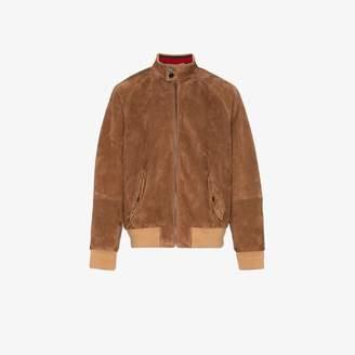 Gucci web collar suede jacket