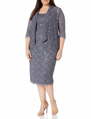 Alex Evenings Women's Plus Size Two-Piece Set with Dress and Cascade Detail Jacket