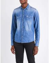 The Kooples Sport Sport Zipped-shoulder Classic-fit Denim Shirt