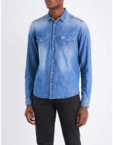 The Kooples Sport Zipped-shoulder classic-fit denim shirt