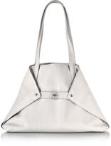 Akris Ai Small White Leather Tote Bag