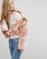Miss Selfridge Blush Faux Fur Jacket