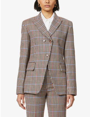 Sportmax Manto check-print double-breasted woven blazer