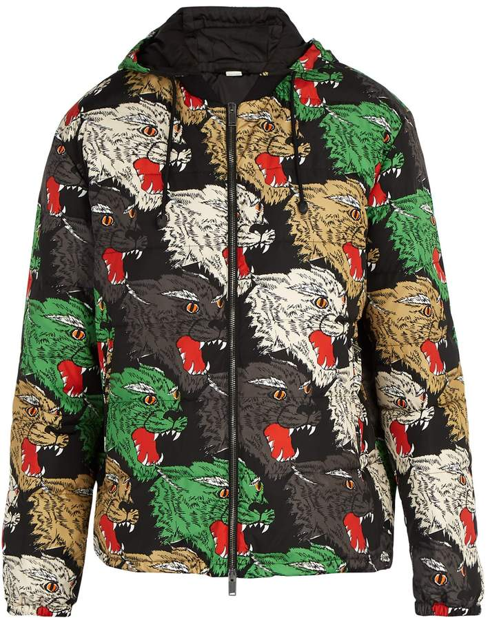 Gucci Panther Face quilted hooded jacket