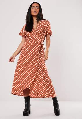 Missguided Rust Polka Dot High Low Wrap Midi Dress