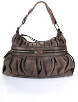 Coccinelle Brown Leather Pleated Single Strap Medium Hobo Handbag