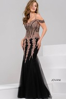 Jovani Sequined Off The Shoulder Tulle Mermaid Dress 51115