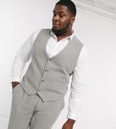 Asos DESIGN Plus wedding super skinny suit suit vest in gray wool blend micro houndstooth