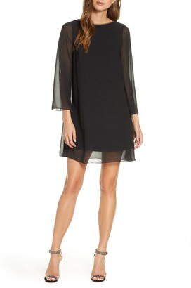 Sho By Tadashi Shoji Long Sleeve Scoop Back Cocktail Dress