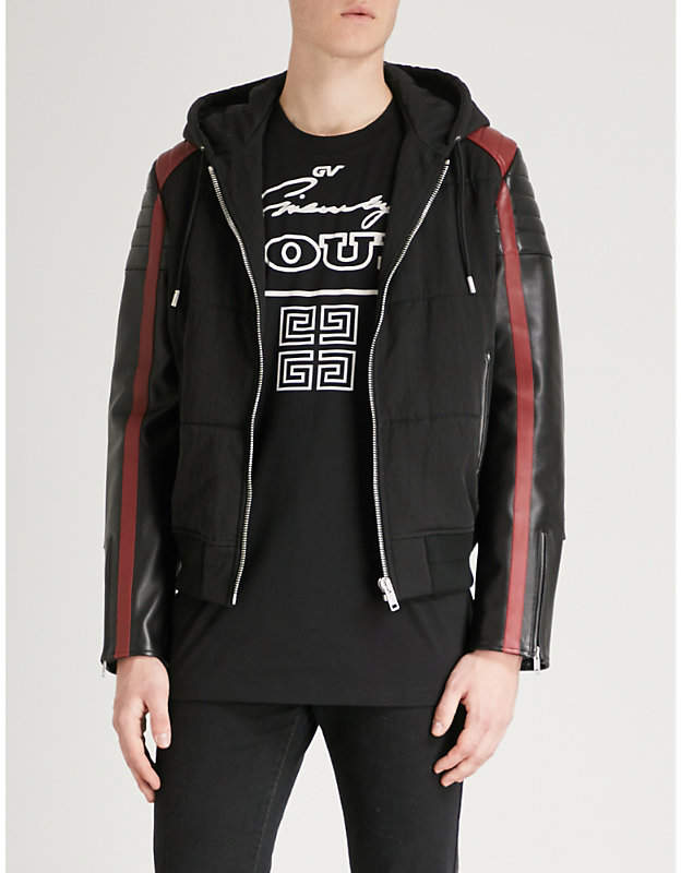 Givenchy Hooded leather and shell jacket