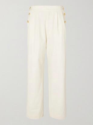 Gucci Plaster Pleated Slub-Cotton Trousers