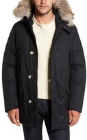 Woolrich Men's Laminated Cotton Down Parka With Genuine Coyote Fur Trim