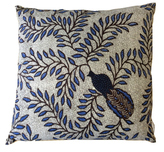 Peacock and Vines Pillow