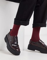 Asos Design DESIGN brogue shoes in red faux leather with chunky sole