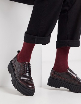 ASOS DESIGN brogue shoes in red faux leather with chunky sole