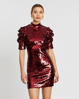 Alice + Olivia Alice & Olivia Brenna Sequin Fitted Puff Sleeve Dress