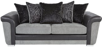 Manhattan Fabric and Faux Snakeskin Scatter Back 3 Seater Sofa