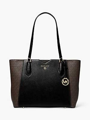Michael Kors MICHAEL Mae Medium Logo Messenger Tote Bag, Brown/Black