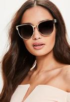 Missguided Gold Flat Metal Cat Eye Sunglasses, Black