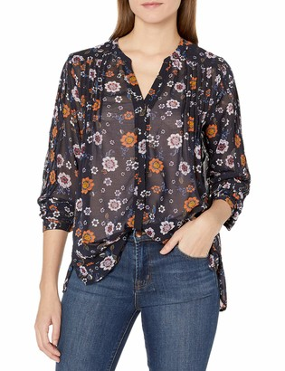 Democracy Women's Pleated Button up L/s Blouse