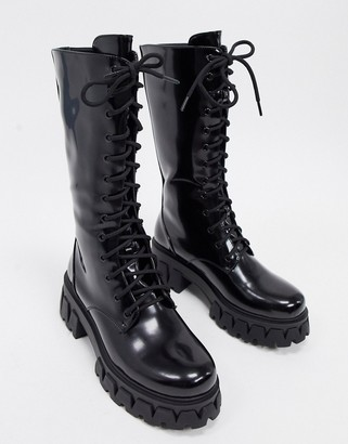 Koi Footwear Trinity vegan lace up chunky boots in black