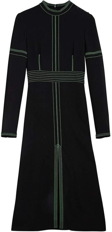 Burberry topstitch detail crepe dress