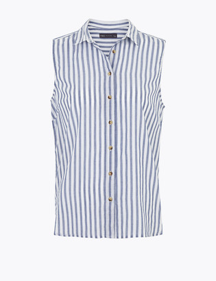 Marks and Spencer Pure Cotton Striped Sleeveless Shirt