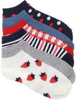 Kelly & Katie Women's Strawberry No Show Socks - 6 Pack -Multicolor