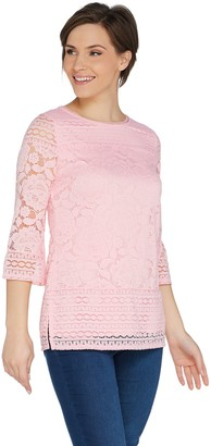 Isaac Mizrahi Live! 3/4 Sleeve Scoop Neck Mixed Lace Tunic