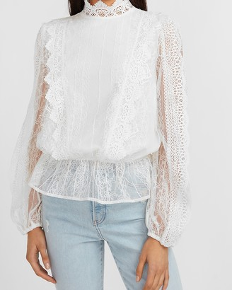 Express Scalloped Lace Mock Neck Peplum Top
