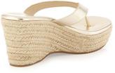Jay Litvack Aruba Metallic Raffia Wedge Thong Sandal, Gold