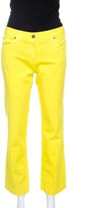 Roberto Cavalli Yellow Denim Embroidered Back Pocket Jeans M
