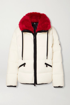 MONCLER GRENOBLE Oversized Faux Fur-trimmed Quilted Fleece Down Ski Jacket - Ivory